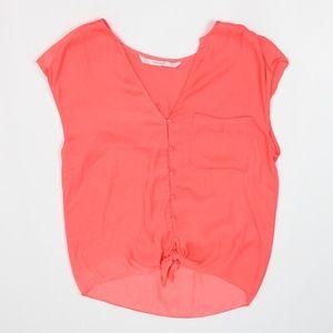 Trafaluc by Zara coral orange silky sleeveless top